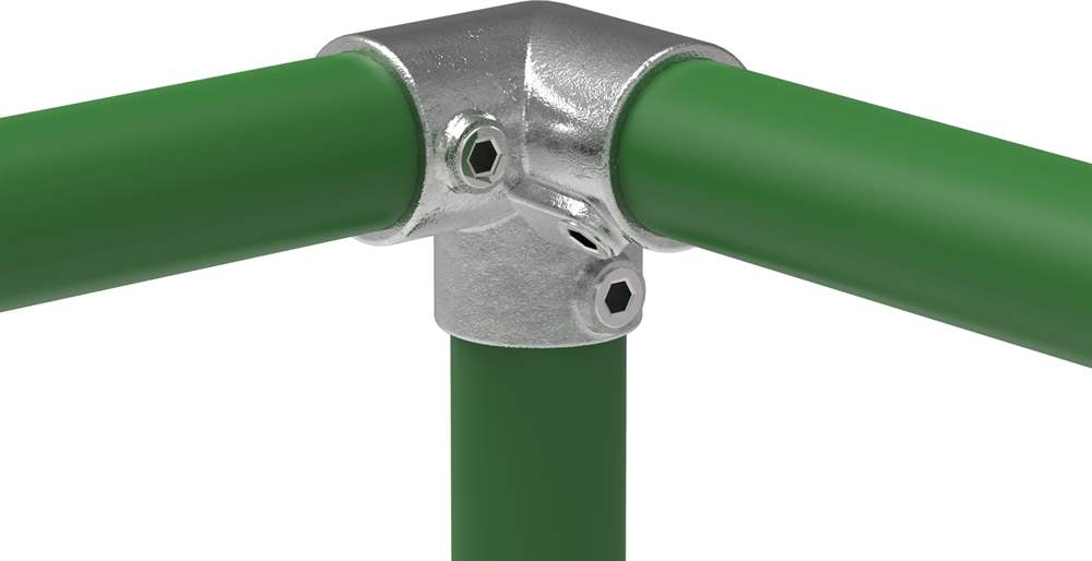 Rohrverbinder | Dreiweg-Eckstück 90° | 128B34 | 33,7 mm | 1 | Temperguss u. Elektrogalvanisiert