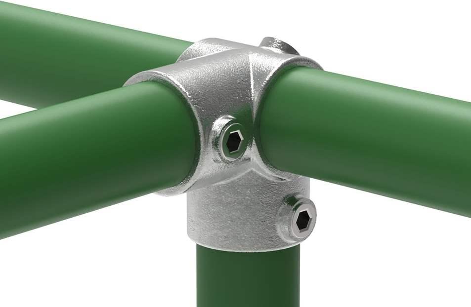 Rohrverbinder | Eckstück durchgehend | 116 | 21,3 mm - 60,3 mm | 1/2 - 2 | Temperguss u. Elektrogalvanisiert