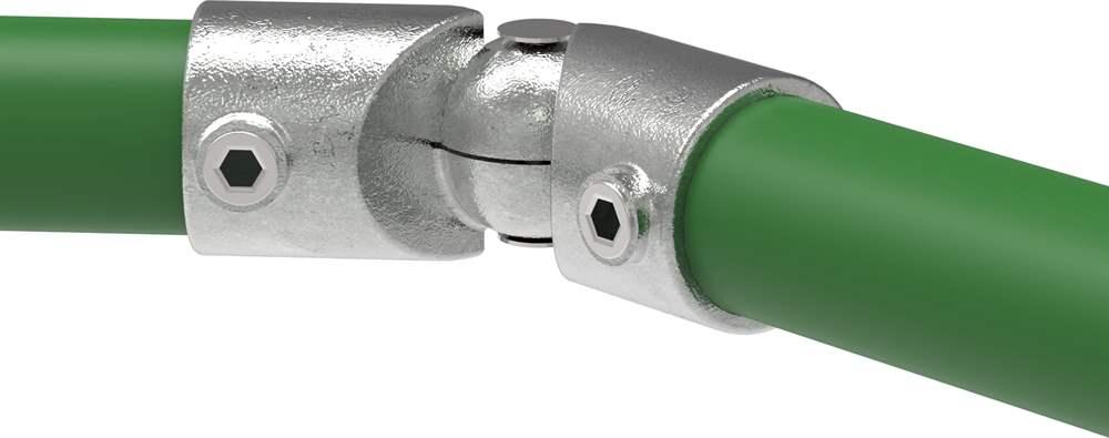 Rohrverbinder | Eckstück verstellbar | 125H | 33,7 mm - 48,3 mm | 1 - 1 1/2 | Temperguss u. Elektrogalvanisiert