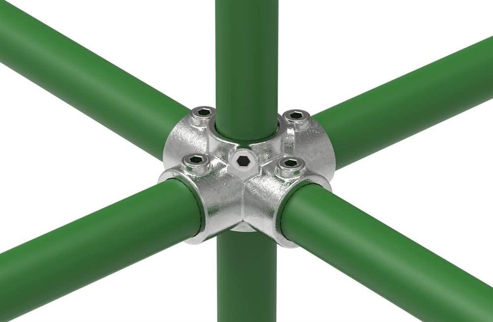 Rohrverbinder | Kreuzstück für Stützrohr | 158 | 21,3 mm - 60,3 mm | 1/2 - 2 | Temperguss u. Elektrogalvanisiert