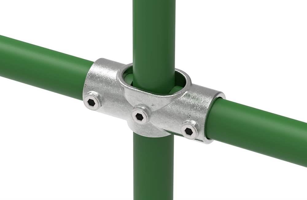 Rohrverbinder | Kreuzstück verstellbar 0-11° | 156 | 33,7 mm - 48,3 mm | 1 - 1 1/2 | Temperguss u. Elektrogalvanisiert