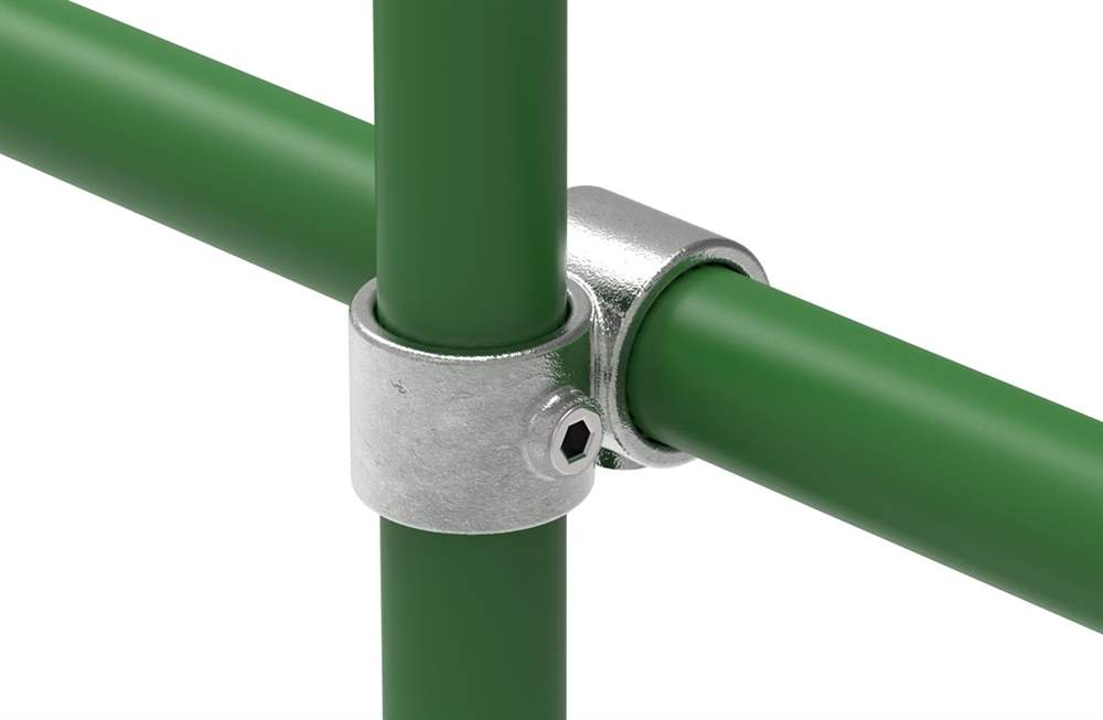 Rohrverbinder | Kreuzstück vorgesetzt 90° reduziert | 161D48/B34 | 48,3 mm; 33,7 mm | 1 1/2; 1 | Temperguss u. Elektrogalvanisiert