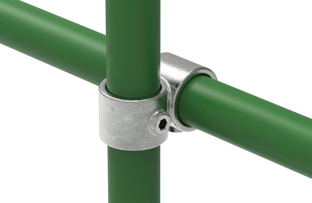 Rohrverbinder | Kreuzstück vorgesetzt 90° reduziert | 161D48/C42 | 48,3 mm; 42,4 mm | 1 1/2; 1 1/4 | Temperguss u. Elektrogalvanisiert