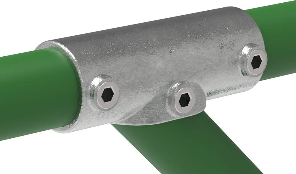 Rohrverbinder | T-Stück 30-45° | 127 | 33,7 mm - 48,3 mm | 1 - 1 1/2 | Temperguss u. Elektrogalvanisiert