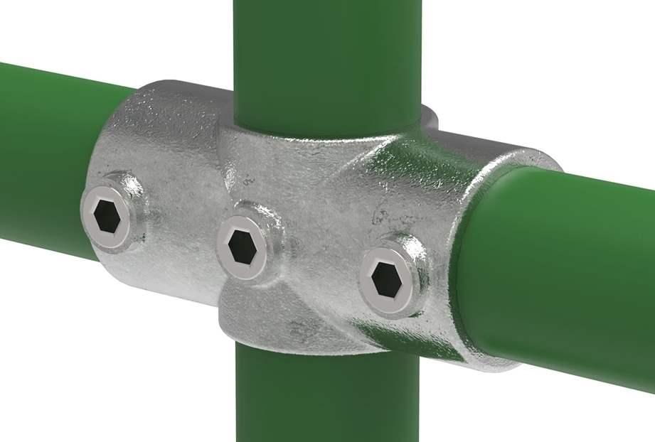 Rohrverbinder | T-Stück für Stützrohr | 176A27/D48 | 26,9 mm; 48,3 mm | 3/4; 1 1/2 | Temperguss u. Elektrogalvanisiert