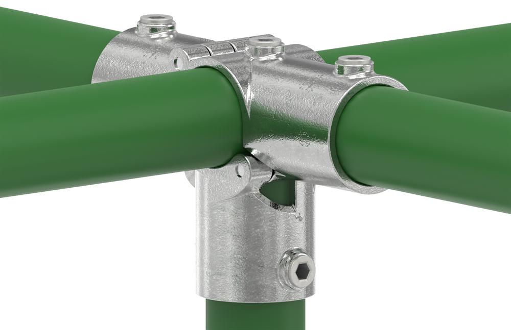 Rohrverbinder | T-Stück für Stützrohr aufklappbar | 176D48-V | 48,3 mm | 1 1/2 | Temperguss u. Elektrogalvanisiert