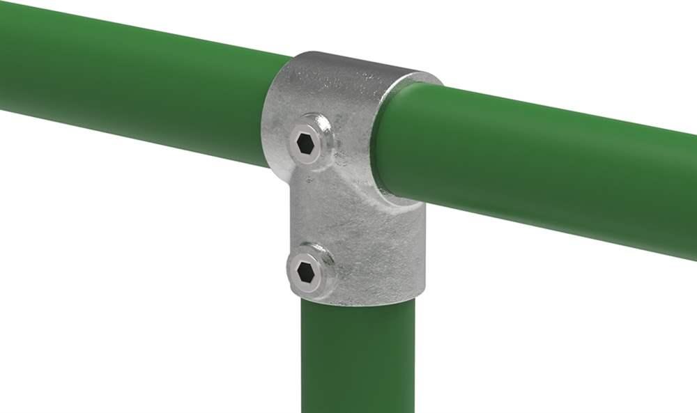Rohrverbinder | T-Stück kurz | 101C42 | 42,4 mm | 1 1/4 | Temperguss u. Elektrogalvanisiert