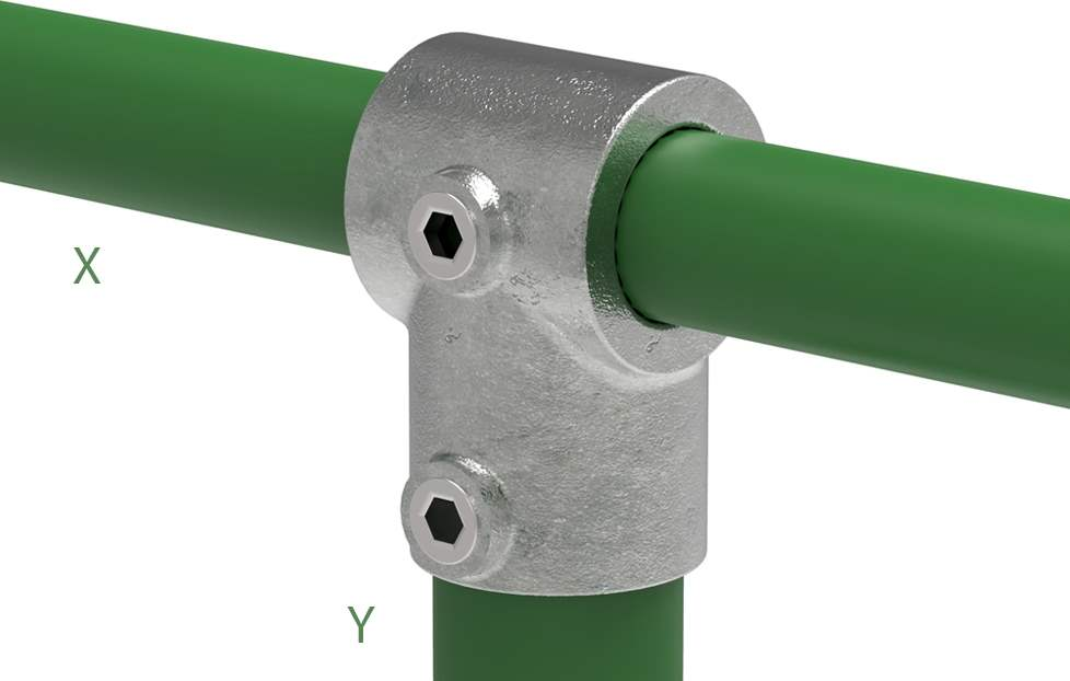 Rohrverbinder | T-Stück kurz | 101C42/D48 | 42,4 mm; 48,3 mm | 1 1/4; 1 1/2 | Temperguss u. Elektrogalvanisiert