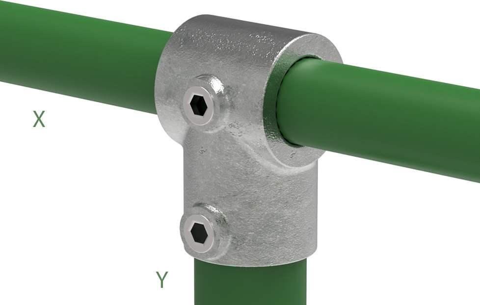 Rohrverbinder | T-Stück kurz | 101D48/C42 | 48,3 mm; 42,4 mm | 1 1/2; 1 1/4 | Temperguss u. Elektrogalvanisiert