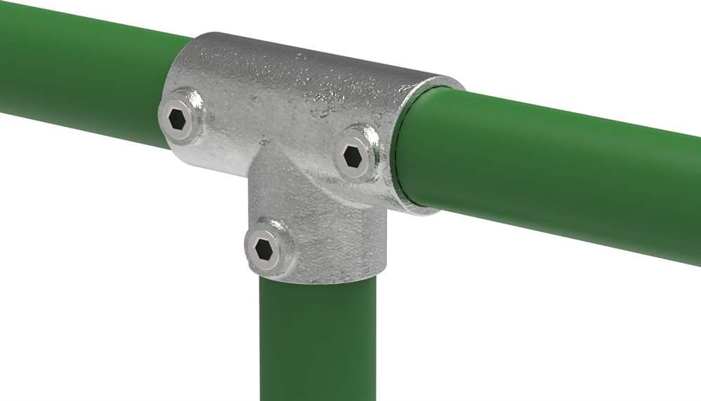 Rohrverbinder | T-Stück lang | 104C42 | 42,4 mm | 1 1/4 | Temperguss u. Elektrogalvanisiert