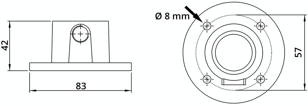 Rohrverbinder | Wandbefestigung rund | 131A27 | 26,9 mm | 3/4 | Temperguss u. Elektrogalvanisiert