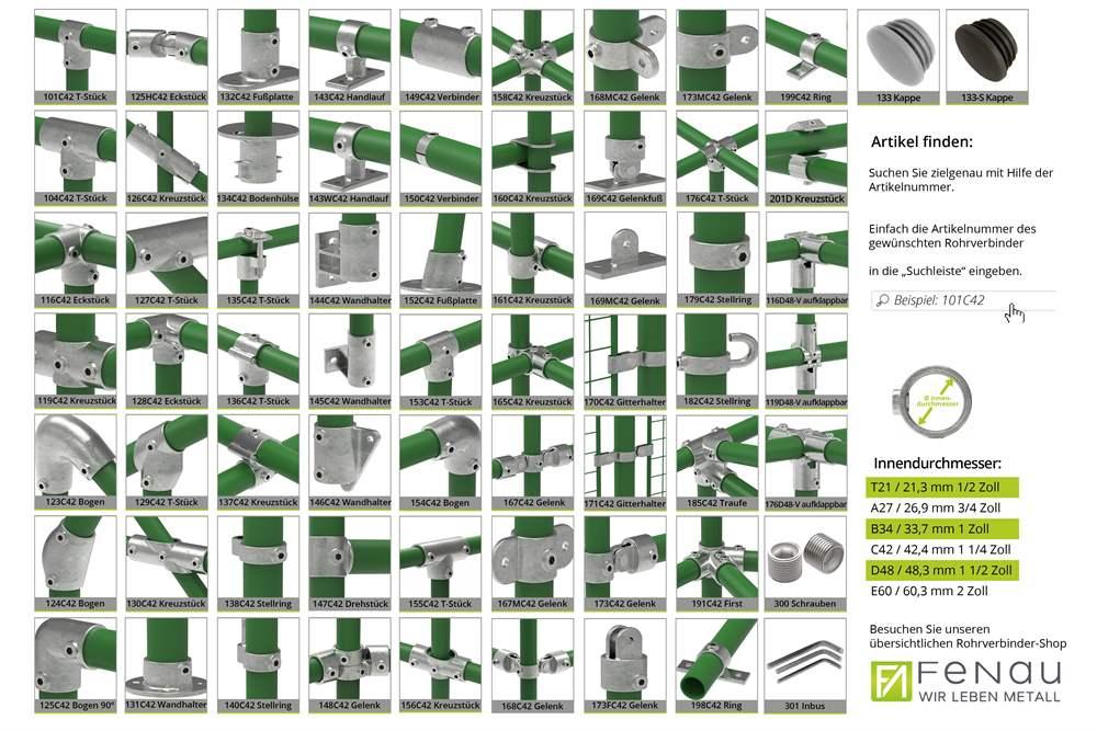 Rohrverbinder | Wandbefestigung rund | 131B34 | 33,7 mm | 1 | Temperguss u. Elektrogalvanisiert
