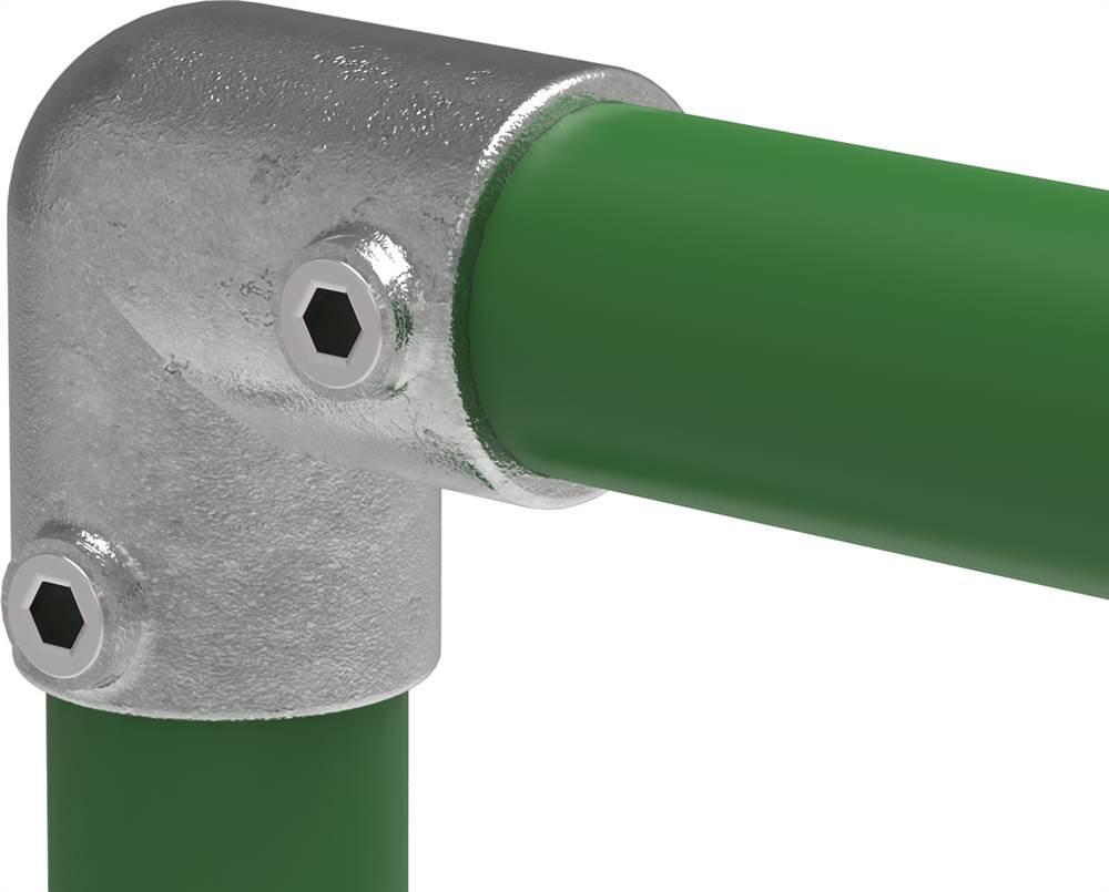 Rohrverbinder | Bogen 90° | 125D48/C42 | 48,3 mm; 42,4 mm | 1 1/2; 1 1/4 | Temperguss u. Elektrogalvanisiert