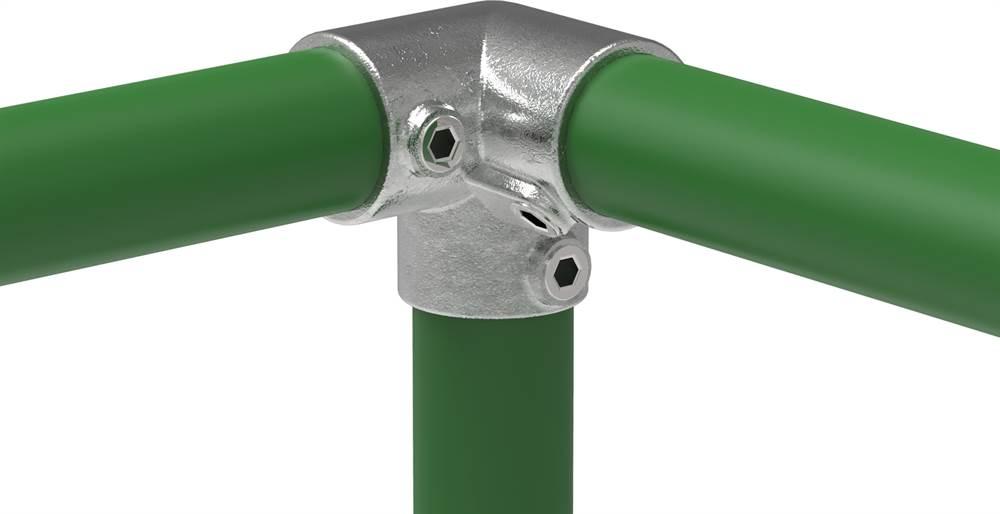 Rohrverbinder   Dreiweg-Eckstück 90°   128   21,3 mm - 60,3 mm   1/2 - 2   Temperguss u. Elektrogalvanisiert