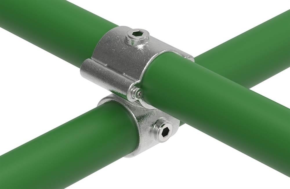 Rohrverbinder | T-Kreuzstück mit Bolzen aufklappbar | 137 | 33,7 mm - 48,3 mm | 1 - 1 1/2 | Temperguss u. Elektrogalvanisiert