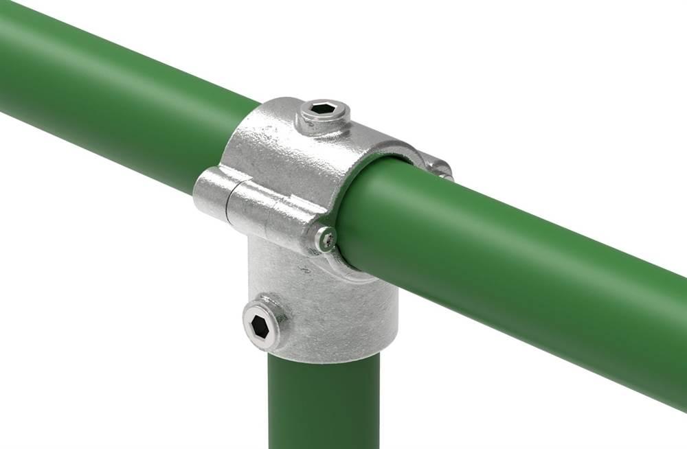 Rohrverbinder | T-Stück mit Bolzen aufklappbar | 136 | 33,7 mm - 48,3 mm | 1 - 1 1/2 | Temperguss u. Elektrogalvanisiert