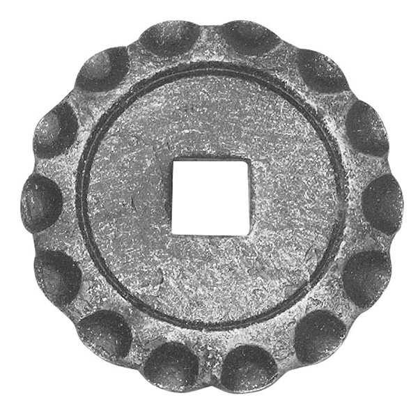 Rosette / Zierteil    Ø 65x5 mm mit Loch 12,5x12,5 mm   Stahl (Roh) S235JR