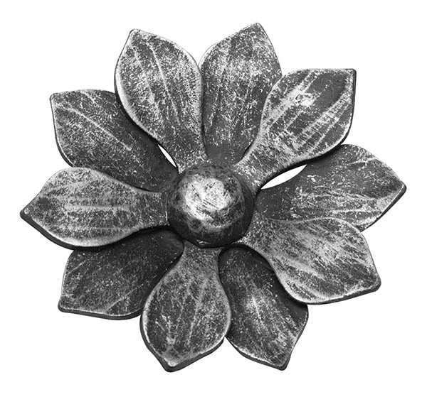 Rosette / Zierteil   Blume ohne Stiel Ø 110x5 mm   Stahl (Roh) S235JR