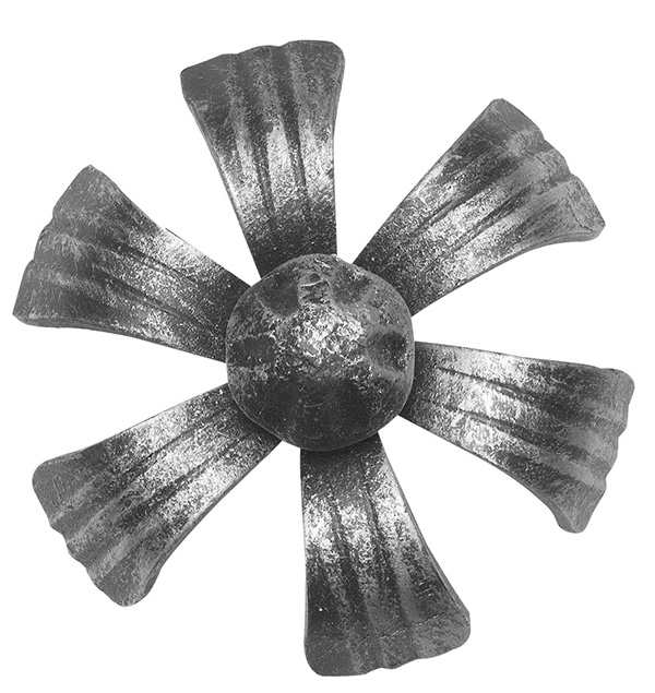 Rosette / Zierteil   Zierblume (Lilie) Rosette Ø 100x5 mm   Stahl (Roh) S235JR