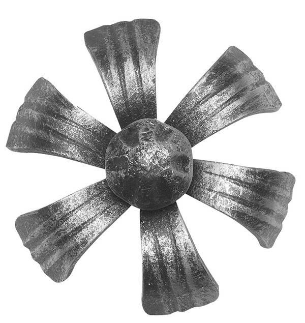 Rosette / Zierteil | Zierblume (Lilie) Rosette Ø 100x5 mm | Stahl (Roh) S235JR