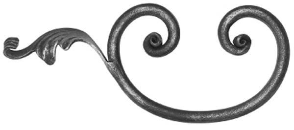Rundeisenbarock   Maße: 270x110 mm   Stahl S235JR, roh