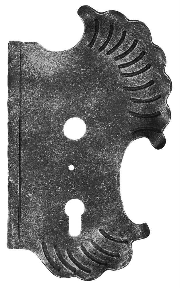 Schlossplatte rechts | Maße: 148x240x3 mm | Dornmaß: 60 mm | Stahl S235JR, roh