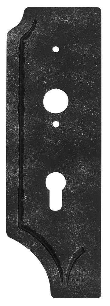Schlossplatte links | Maße: 119x260x4 mm | Dorn: 60 mm | Stahl S235JR, roh