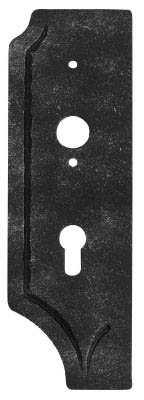 Schlossplatte links | Maße: 85x260x4 mm | Dornmaß: 40 mm | Stahl S235JR, roh