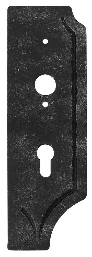 Schlossplatte rechts | Maße: 119x260x4 mm | Dorn: 60 mm | Stahl S235JR, roh
