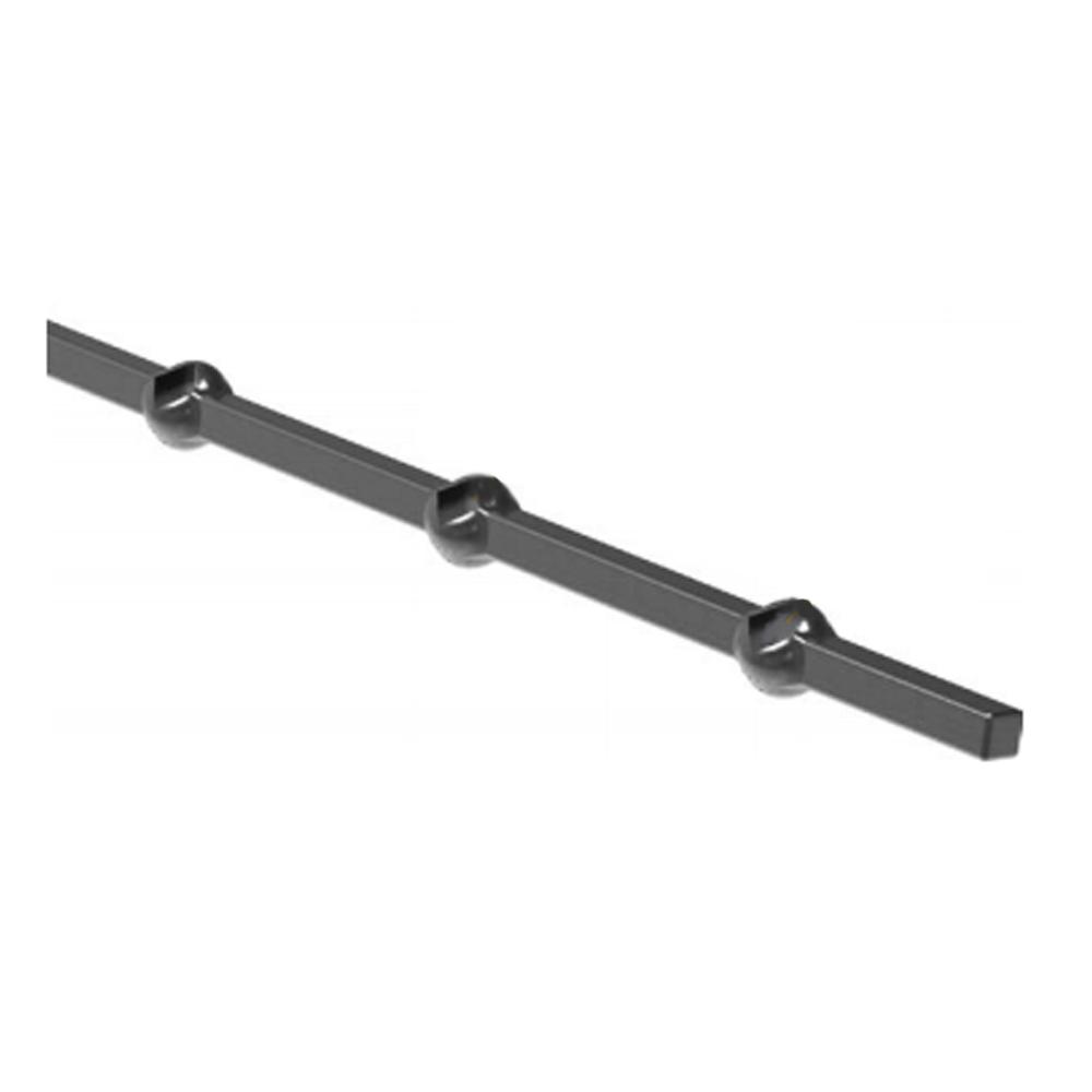 Lochleiste | schräg für Quadratrohr | Material: 14x14 mm | Länge: 2000 mm | Stahl S235JR, roh