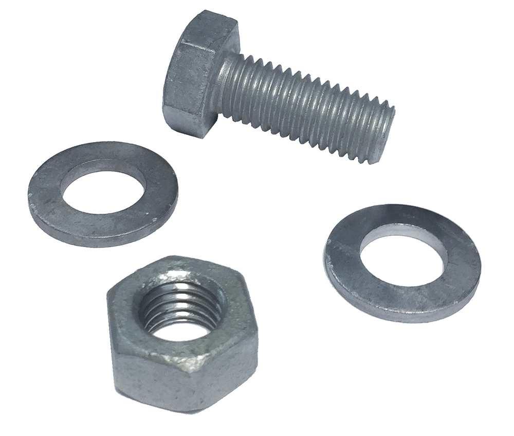 Schraubenset für Gitterroststufen | M12x30 mm | aus St37, feuerverzinkt