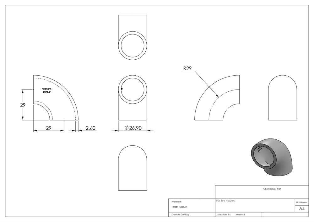 26,9x2,0 mm Fenau Stahl S235JR 120/° Stahl Rohrbogen roh