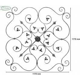 Schwerbarock | Maße: 1170x1170 mm | Material: 16x8 mm, gerillt | Stahl S235JR, roh