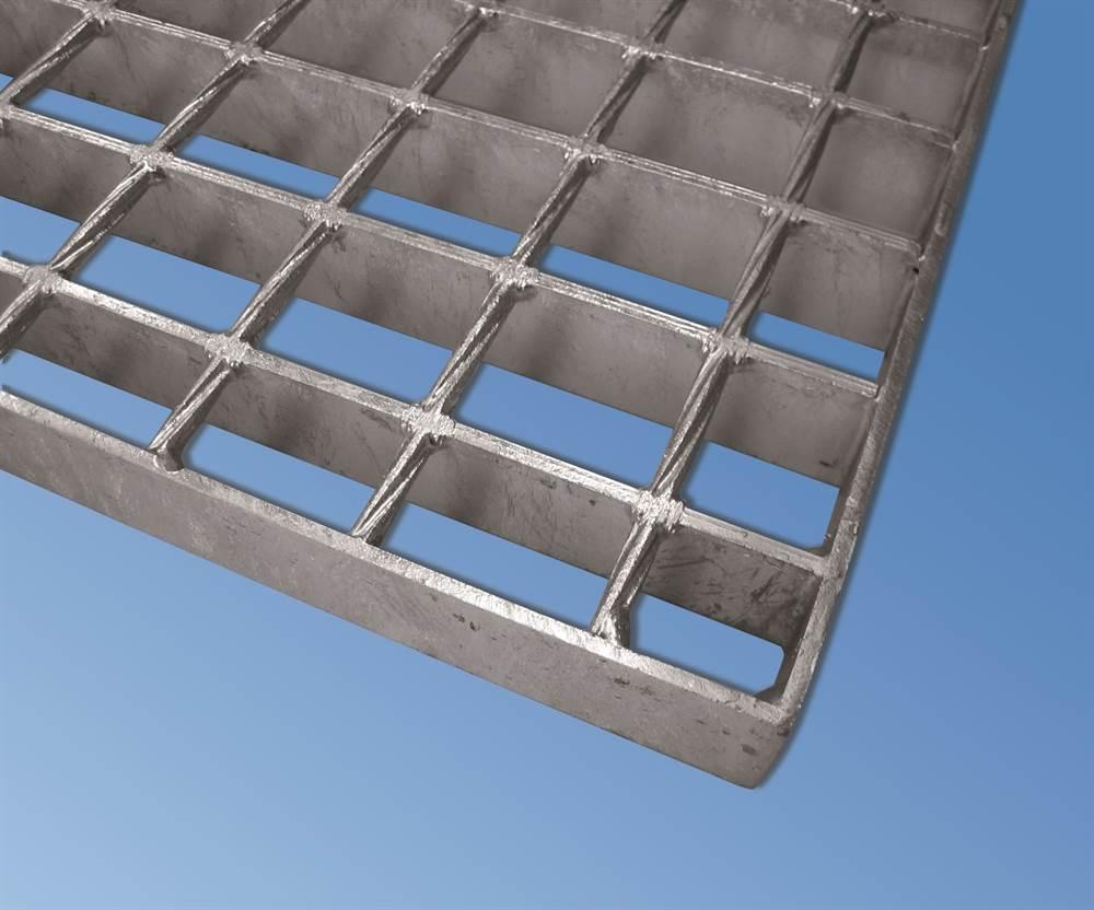 SP Industrie-Gitterrost | Maße: 1000x1000 mm; 34/38 mm; 30/2 mm | S235JR (St37-2), im Vollbad feuerverzinkt