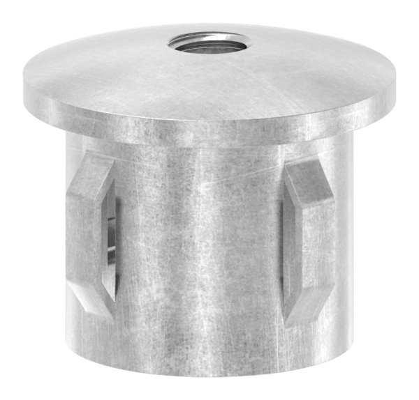 Stahlstopfen | leicht gewölbt | mit M8 | für Rundrohr Ø 33,7x1,8-2,2 mm | Stahl S235JR, roh