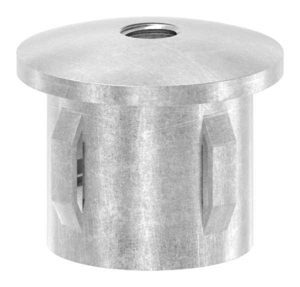 Stahlstopfen | leicht gewölbt | mit M8 | für Rundrohr Ø 33,7x2,5-2,9 mm | Stahl S235JR, roh