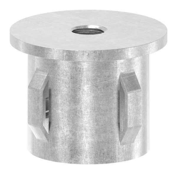 Stahlstopfen flach   mit M8   für Rundrohr Ø 33,7x1,8-2,2 mm   Stahl S235JR, roh