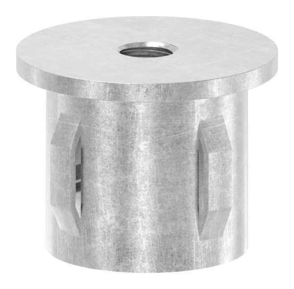 Stahlstopfen flach   mit M8   für Rundrohr Ø 33,7x2,5-2,9 mm   Stahl S235JR, roh