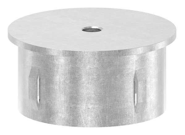 Stahlstopfen flach | mit M8 | für Rundrohr Ø 60,3x2,5-2,9 mm | Stahl S235JR, roh
