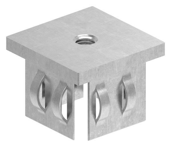 Stahlstopfen flach | mit M8 | für Rohr 40x40x2,0-3,0 mm | Stahl S235JR, roh