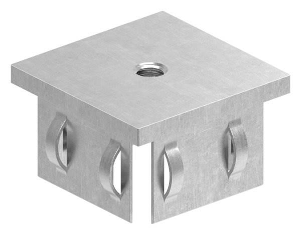 Stahlstopfen flach | mit M8 | für Rohr 50x50x2,0-3,0 mm | Stahl S235JR, roh
