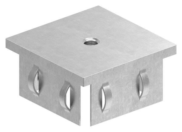 Stahlstopfen flach | mit M8 | für Rohr 60x60x2,0-3,0 mm | Stahl S235JR, roh