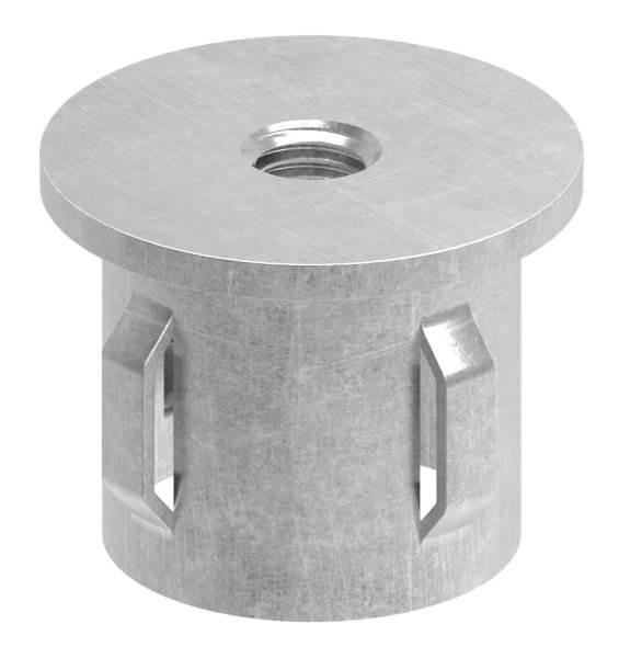 Stahlstopfen flach | mit M8 | für Rundrohr Ø 33,7x1,8-2,2 mm | Stahl S235JR, roh