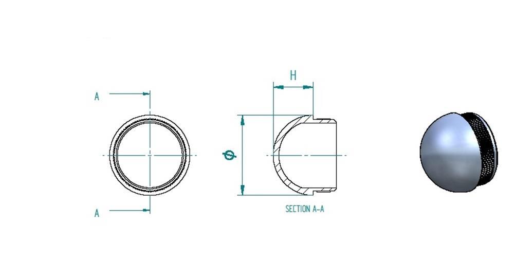 Stopfen halbrund für Ø 42,4x2,0 mm V2A gegossen