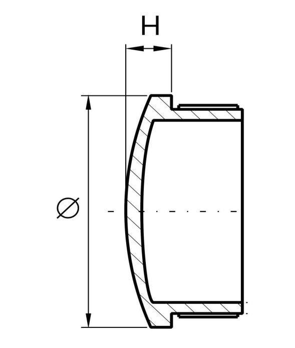Stopfen leicht gewölbt gegossen für Ø 42,4x2,0 mm V2A