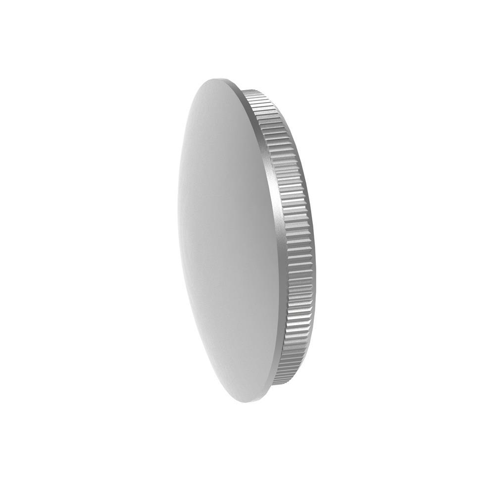 Stopfen leicht gewölbt V2A Vollmaterial für Ø 33,7x2,0 mm - dünne Ausführung