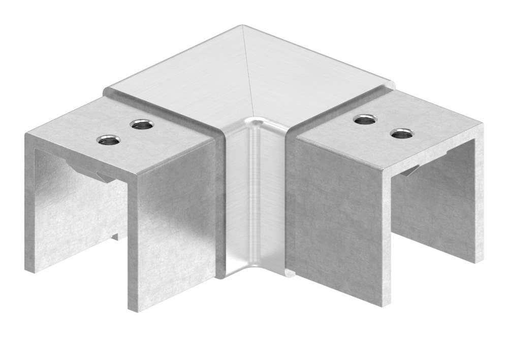 Verlaufsecke 90° | horizontal | für Quadrat-Nutrohr: 40x40 mm | V2A