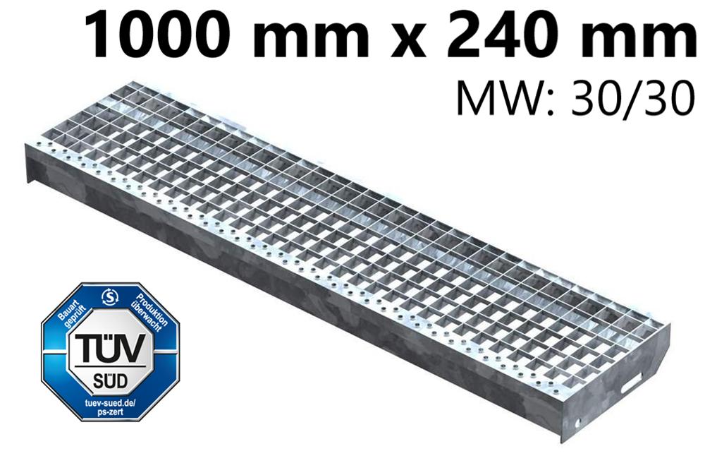 Gitterroststufe Treppenstufe   Maße: 1000x240 mm 30/30 mm   S235JR (St37-2), im Vollbad feuerverzinkt