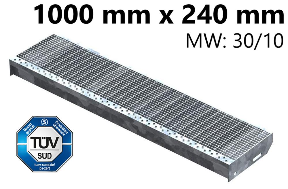 Gitterroststufe Treppenstufe   Maße: 1000x240 mm 30/10 mm   S235JR (St37-2), im Vollbad feuerverzinkt
