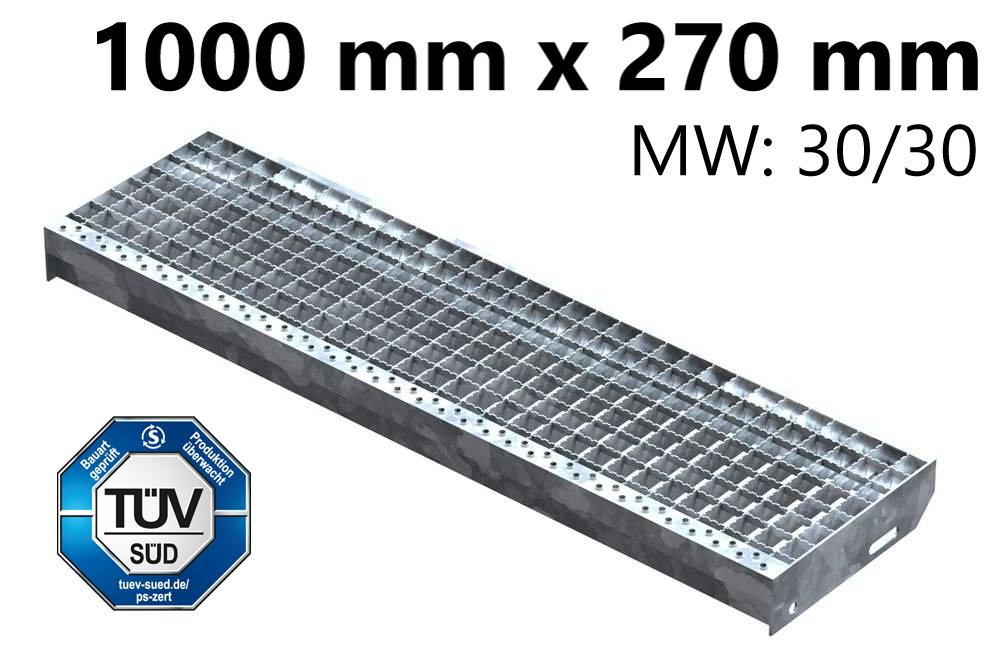 Gitterroststufe Treppenstufe   Maße: 1000x270 mm 30/30 mm R12   S235JR (St37-2), im Vollbad feuerverzinkt